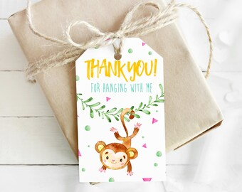 Watercolor Little Monkey / Bananas / Jungle-themed Thank You Tags/Labels/Stickers