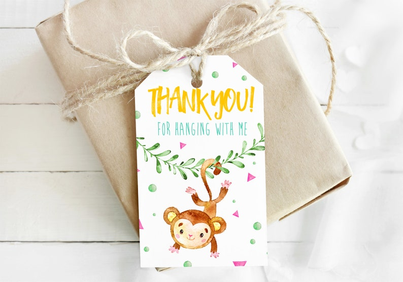 Watercolor Little Monkey / Bananas / Jungle-themed Thank You image 0