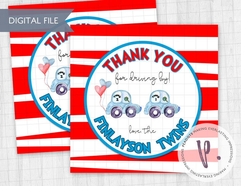 Thing 1 & Thing 2 Inspired Baby Shower Drive By Thank You image 0
