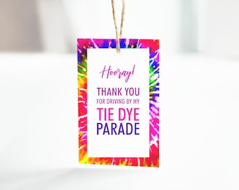 Tie Dye Birthday Drive-by Parade Thank You Tags/Labels/Stickers