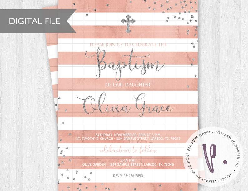 Baptism Christening Glitter Confetti Invitation / Peach / image 0