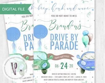 Drive by / Quarantine / Parade Birthday Party Invitation