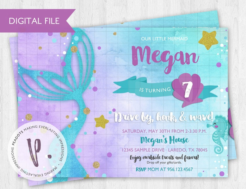 Mermaid Tail Invitations Under the Sea Watercolor Drive-by image 0