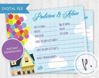 Up Baby Shower Predictions and Advice Cards