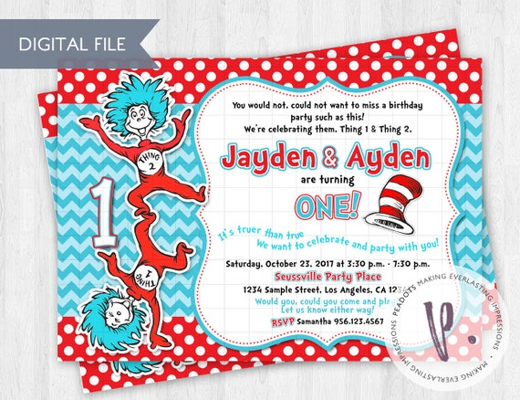 Thing 1 2 Invitations Dr Seuss Cat In