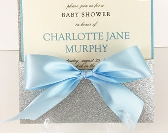 Baptism/Baby Shower Glitter Pocket Invitations