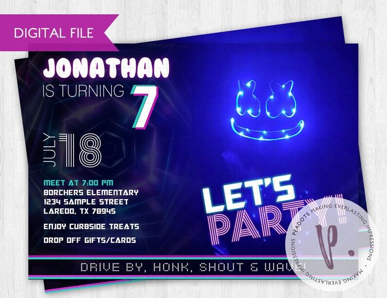 DJ Marshmello Inspired Drive By Invitations / Quarantine image 0