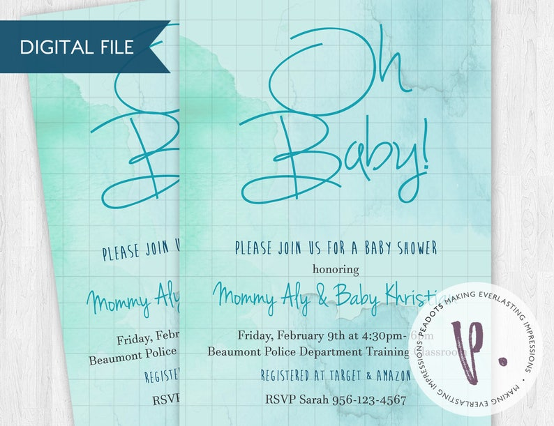 Watercolor Blue/Green/Aqua/Turquoise Baby Shower Invitations image 0
