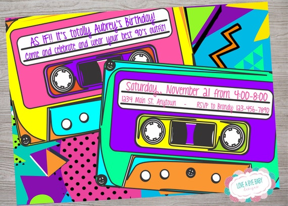90s or 80s theme birthday baby shower party invitation etsy