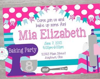 Baking cooking birthday party invitation printable digital file