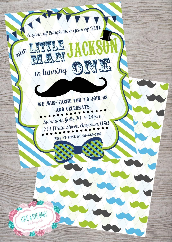 Little man mustache birthday baby shower party invitation.   Etsy