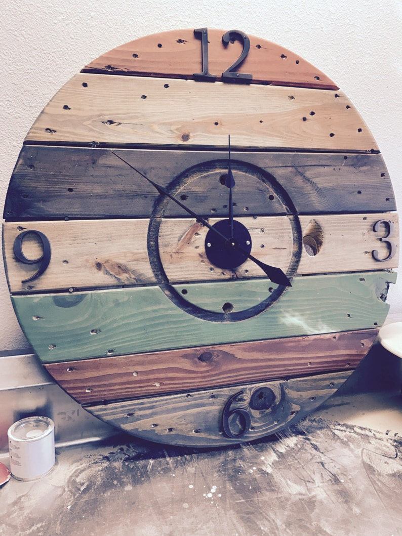 Mutil Colored Reclaimed Wood Spool Clock