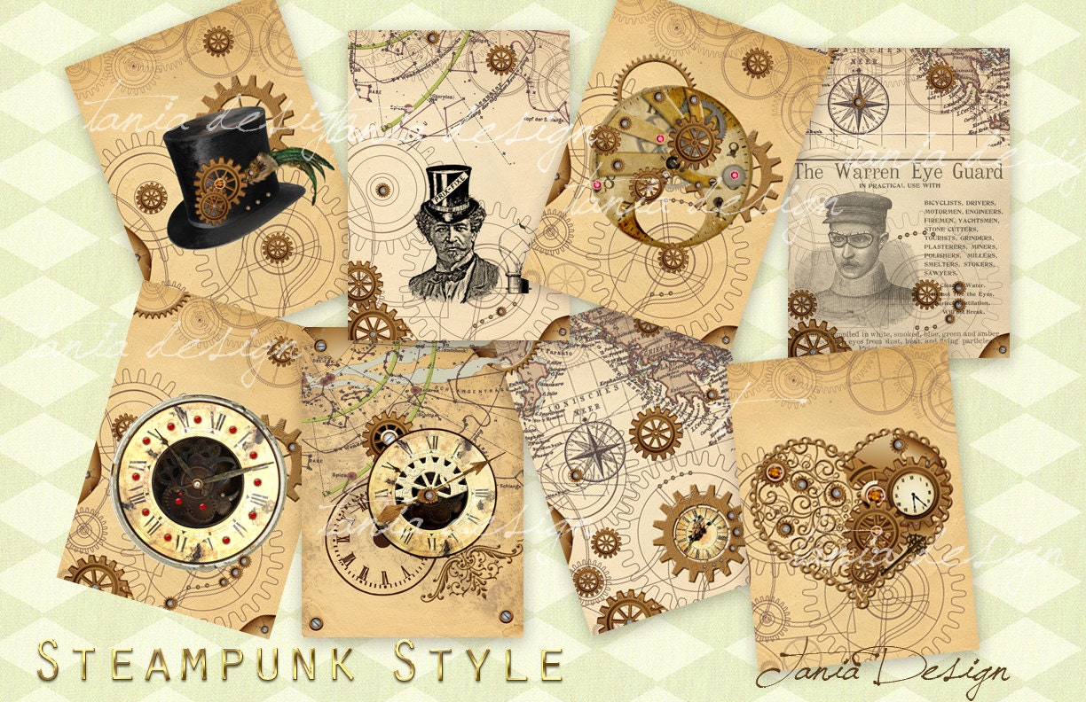 Steampunk Style Digital Collage Sheet Set Of 8 Atc Cards Etsy