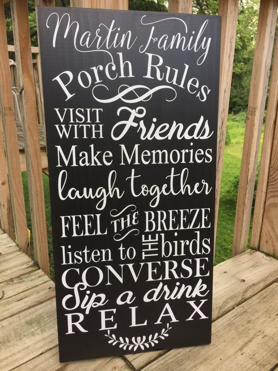 Porch Sign Porch Rules Sign Front Porch Decor Summer Etsy