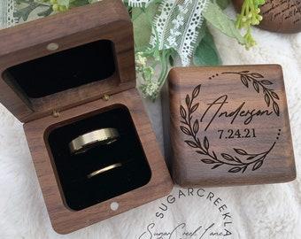 Custom Engraved Wedding Ring Box, Ring Bearer Box, Wedding Ring box for wedding ceremony, ring holder,