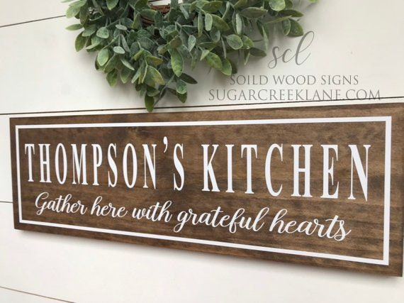 Personalized Kitchen Signs Rustic Kitchen Decor Signs Personalized Gather Sign Gather Wood Sign Housewarming Gift