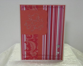Silver Embossed Hearts Valentine Greeting Card