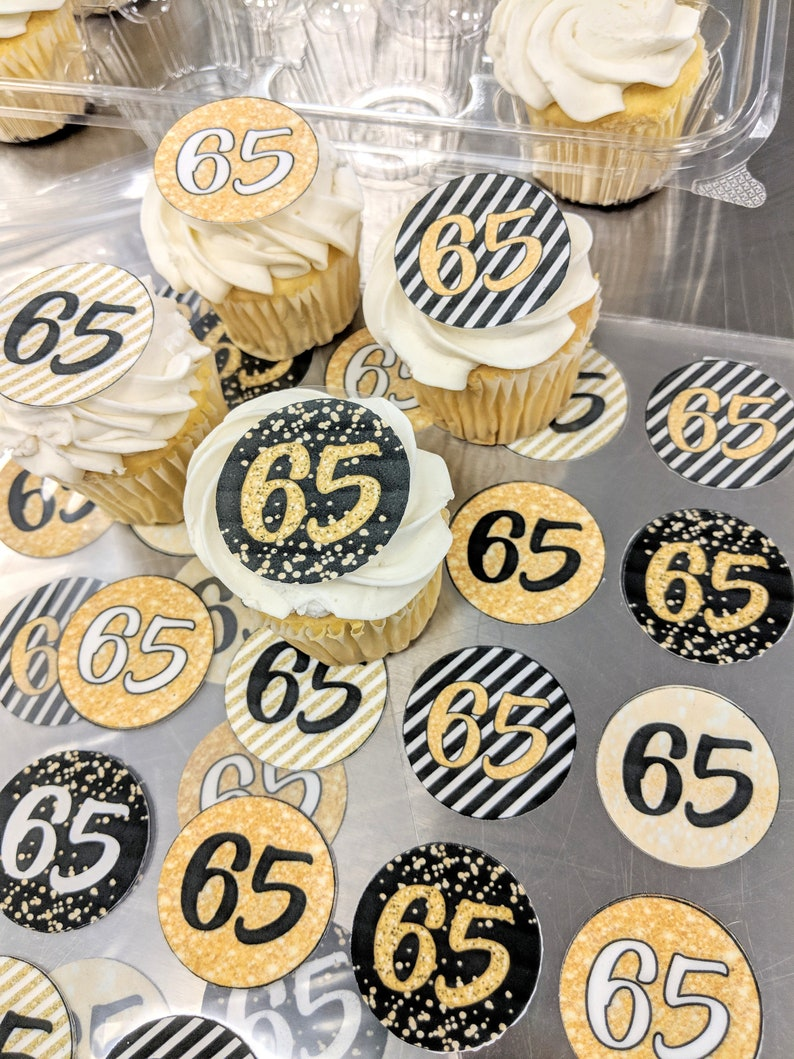 Gold Birthday Edible Cupcake Toppers Cookie