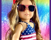 SWIMSUIT Red, White Blue PATRIOTIC- 4th Fourth Of July Sunglasses, Red Clogs Designed to Fit like American Girl Doll or 18 inch dolls