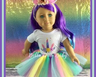 66b09a39a Adorable Unicorn Rainbow tutu, horn headband, Unicorn Slippers Fits like American  Girl Doll -Designed for 18 inch doll Clothes