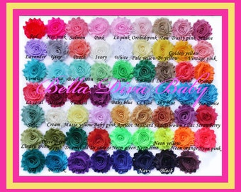70 new colos to choose Shabby Chic Flower Vintage  to make vintage headbands DIY- NO Hair clip- No headband-No rhinestone attach