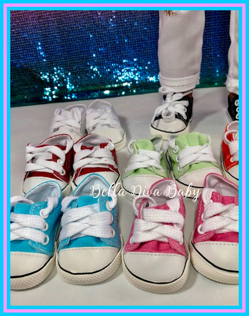 """Canvas Sneaker Athletic Shoes for 18/"""" American Girl Dolls Many Colors Available"""