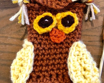 Brown, Yellow and multicolor Owl Crochet Cell Phone Cozy