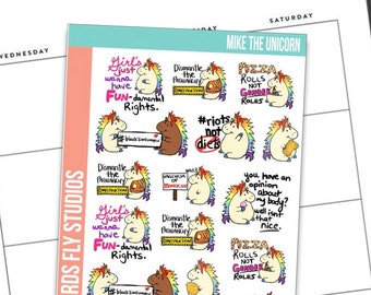 Anxiety Aids X Birds Fly Studios Planner Stickers Mike the Unicorn Sampler / Snarky Planner Stickers / Funny Quotes for Planners