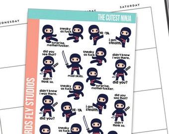 Anxiety Aids X Birds Fly Studios Planner Stickers Cutest Ninja / Snarky Planner Stickers / Funny Quotes for Planners