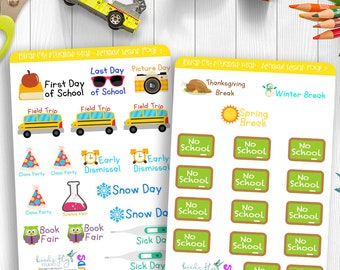 KIDS Collection - School Events Stickers / Happy Planner Kids / School Sticker / Planner Kit for Kids / Kids Planner Stickers