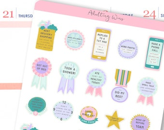 Adulting Win Stickers | Anxiety Stickers for Erin Condren / Introvery Stickers / Adult Awards Stickers