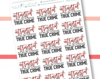 Planner Stickers Introverted True Crime Words / True Crime Planner Stickers / Snarky Funny Quotes for planners and calendar