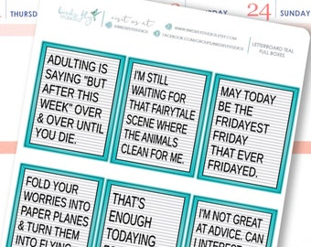 Teal Letterboard Quote Box Stickers | Funny Quotes Stickers / Planner Full Box Decorative Stickers for Erin Condren / Full Box Letterboards
