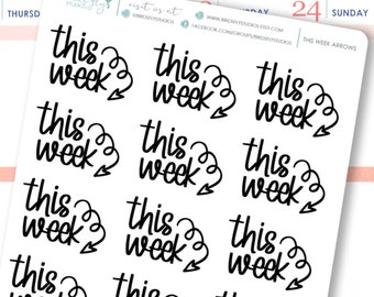 This Week Arrow Stickers   Planner Header Stickers / This Week Stickers / Arrow Stickers for Journals, Planners, Calendars, and more!