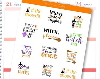 Halloween Quote Stickers | Funny Halloween Quotes Stickers for Erin Condren / Quote Stickers / Halloween Stickers