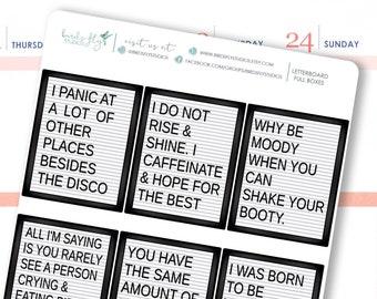 Letterboard Quote Box Stickers | Funny Quotes Stickers / Planner Full Box Decorative Stickers for Erin Condren / Full Box Letterboards