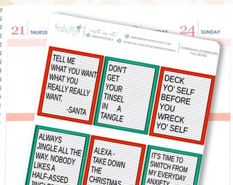 Christmas Letterboard Quote Box Stickers | Funny Christmas Quotes Stickers / Planner Full Box Decorative Stickers for Erin Condren