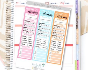 Cleaning Planner Sticker   Cleaning Trackers for Erin Condren Planner Sticker / Cleaning Tracking Sticker / Side Bar Tracker