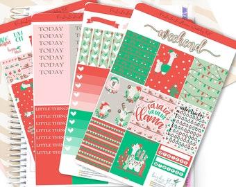 Christmas Llama Premium Weekly Kit Stickers / Christmas Weekly for Erin Condren / Weekly Functional Kits / Washi, Full Box