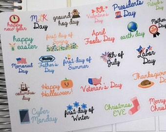 Yearly Holiday Stickers / Holiday Marker Sticker / Holidays Planner Stickers / Fall, Winter, Spring, Summer Holiday Planner Stickers