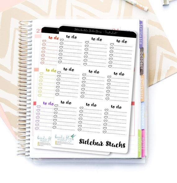 to do task list planner sticker side bar stacks for erin etsy