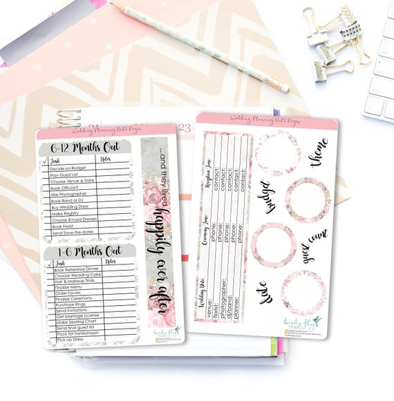 wedding planning note page stickers wedding tracker note etsy