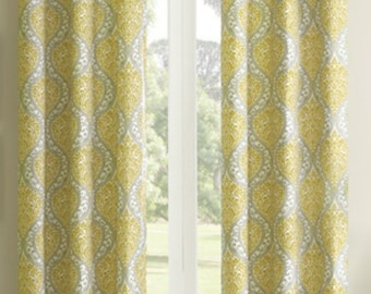 CLEARANCE SALE Yellow And Gray Grey Paisley Damask With Brushed Silver Grommets Window Curtains Sold By Pair