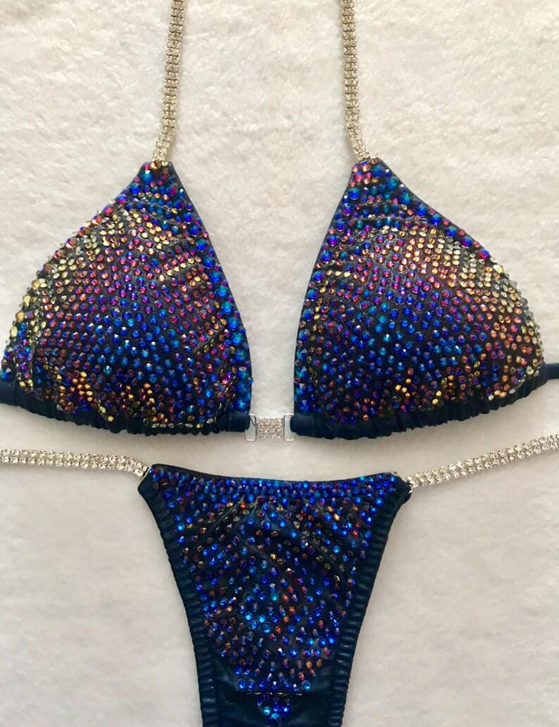 e0e1220930ea6 Blue Galaxy Fitness Competition Bikini Swarovski Crystals