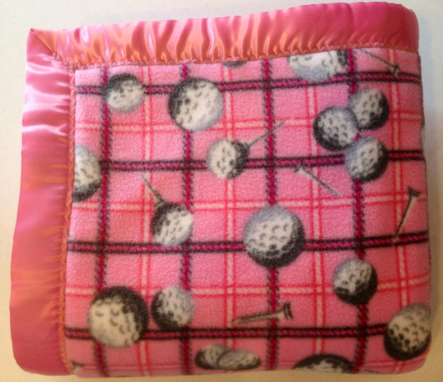 CLEARANCE SALE Pink Golf Ball and Tee Double-Sided Fleece