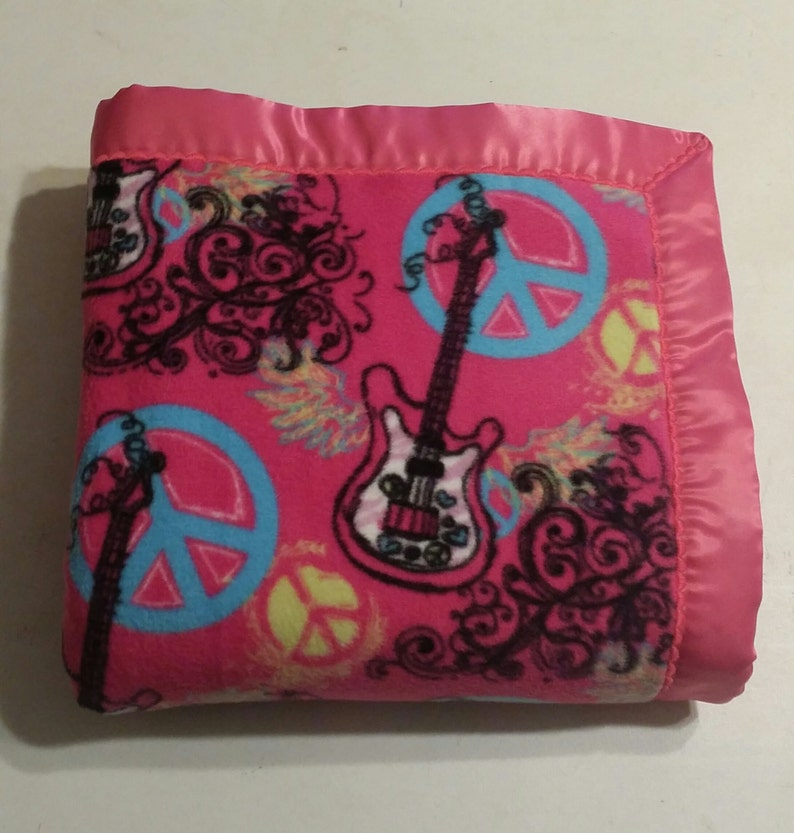 CLEARANCE SALE Ready To Ship Fuschia Pink Guitar and Peace Sign Double-Sided Fleece Blanket