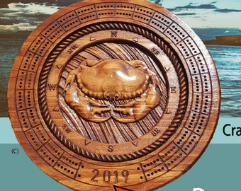 Crab Cribbage board 3d relief carved with pegs