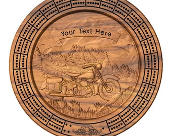 Motorcycle Mountain Cribbage Board with pegs