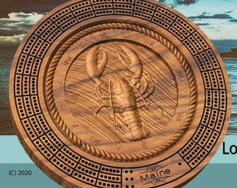 Maine Lobster Cribbage board 3d relief carved with pegs