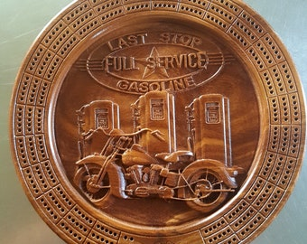 Ready to Ship - Motorcycle Cribbage Board with pegs